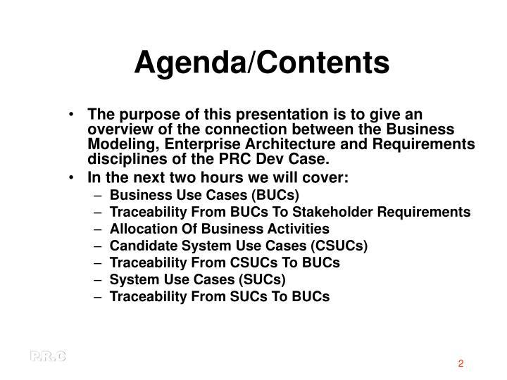Agenda/Contents