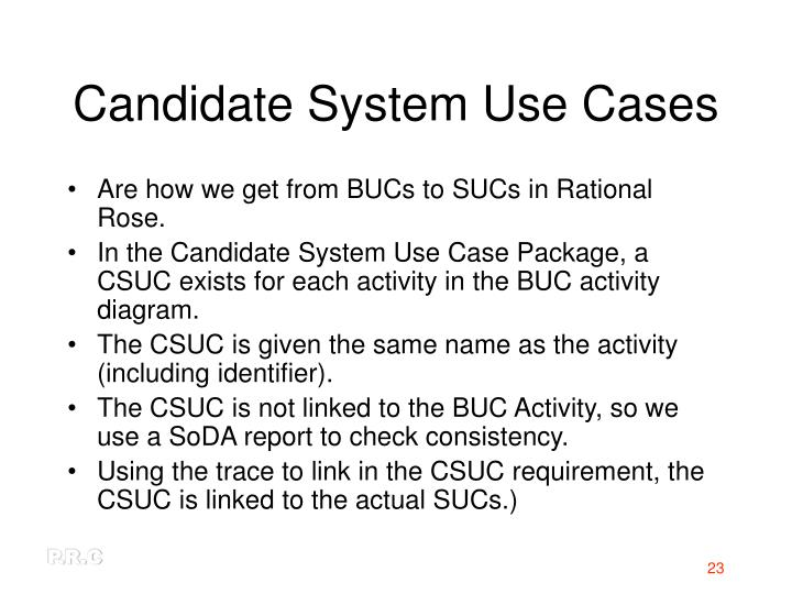 Candidate System Use Cases