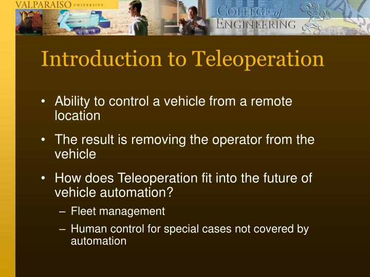 Introduction to Teleoperation