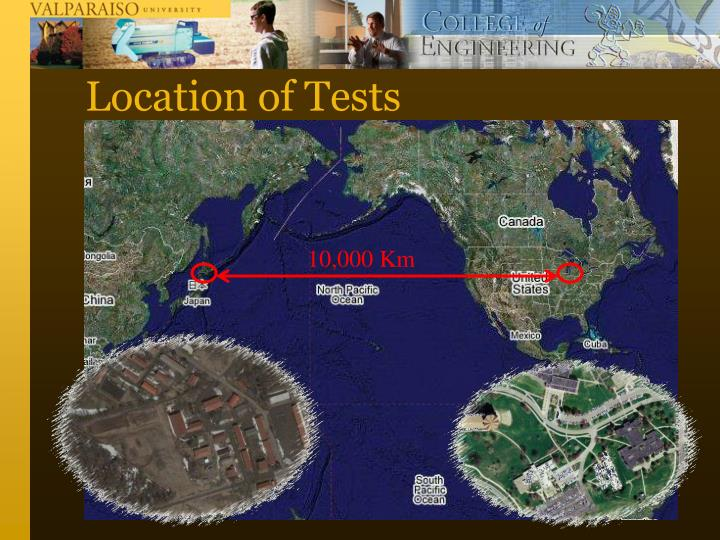 Location of tests