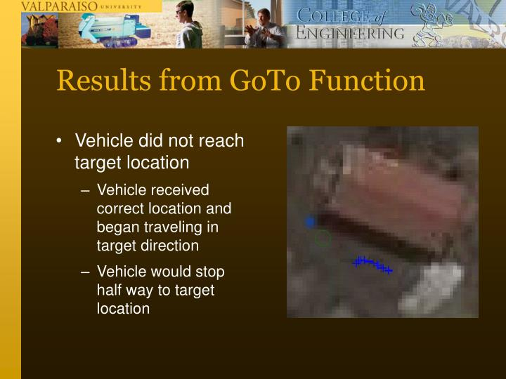Results from GoTo Function