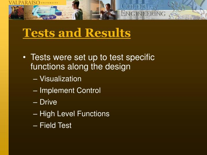 Tests and Results