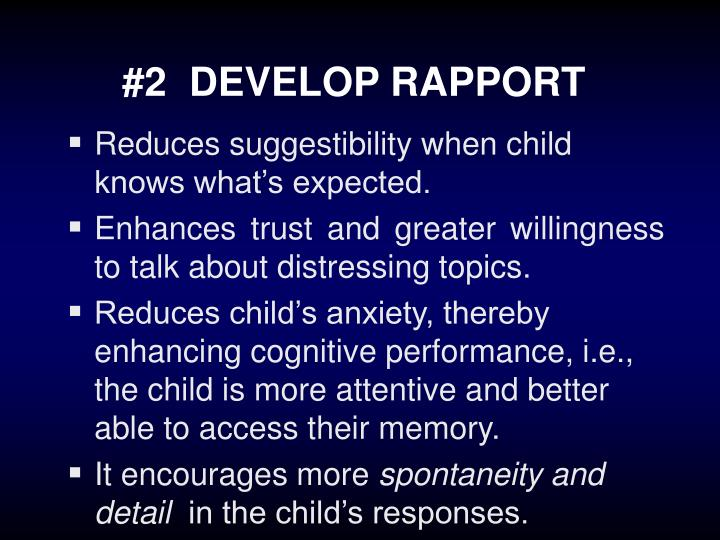 #2  DEVELOP RAPPORT