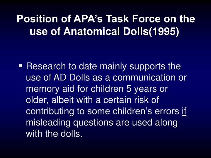 Position of APA's Task Force on the use of Anatomical Dolls(1995)