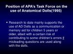 position of apa s task force on the use of anatomical dolls 1995