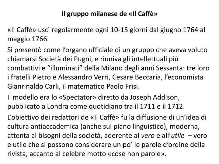 Il gruppo milanese de «Il Caffè»