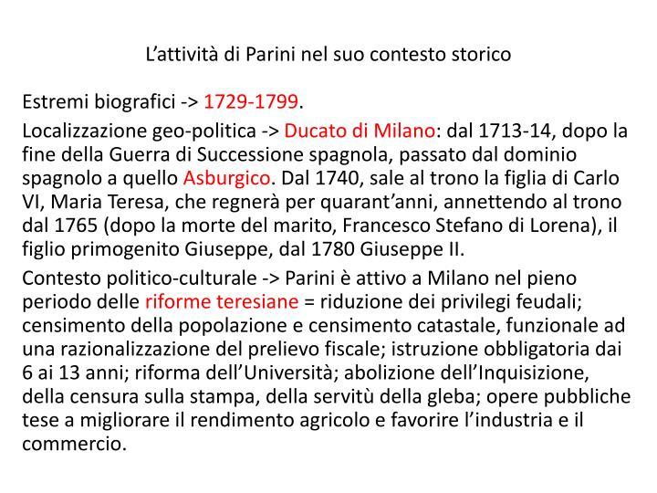 L'attività di Parini nel suo contesto storico