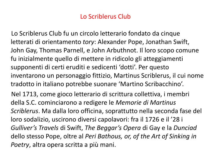 Lo Scriblerus Club