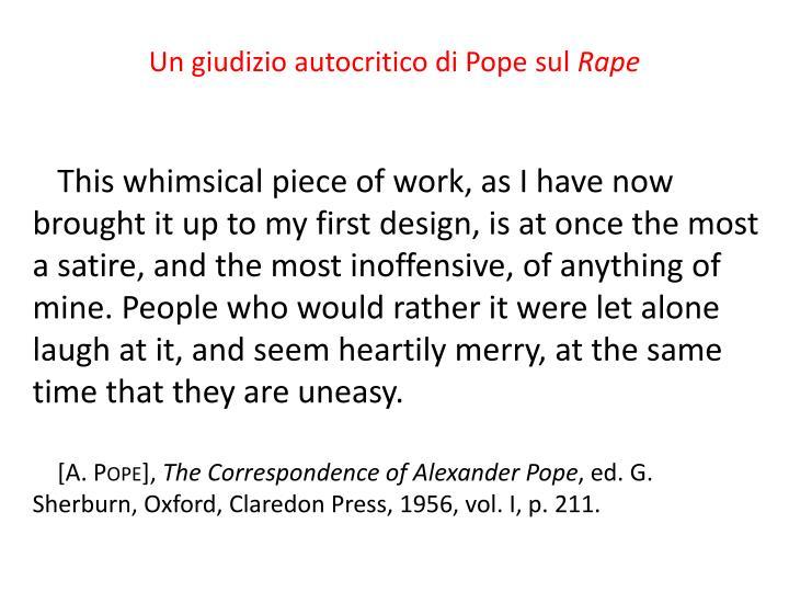 Un giudizio autocritico di Pope sul