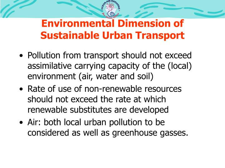 Environmental Dimension of Sustainable Urban Transport