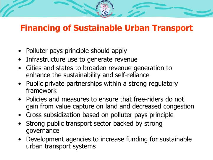 Financing of Sustainable Urban Transport