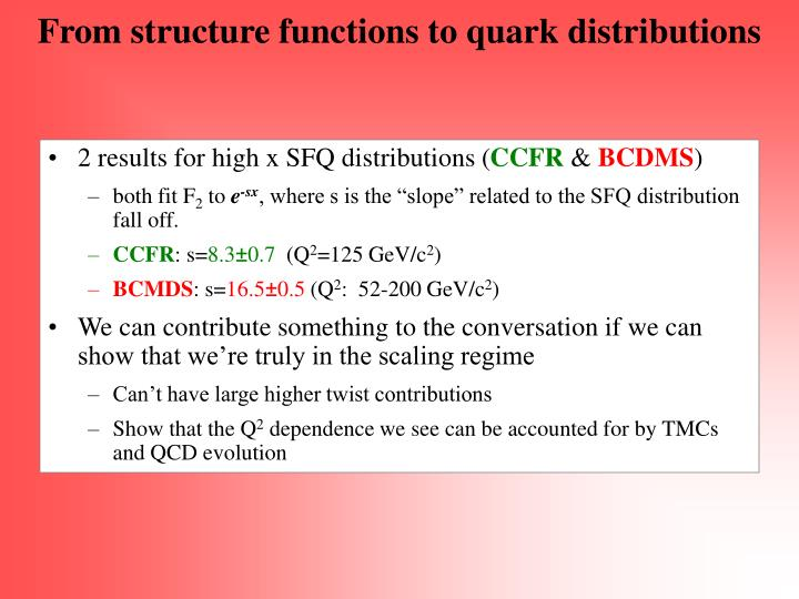 From structure functions to quark distributions