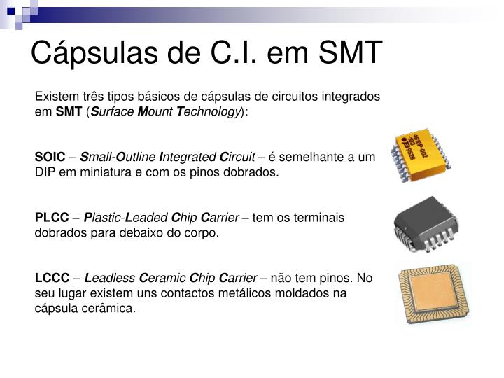 Cápsulas de C.I. em SMT