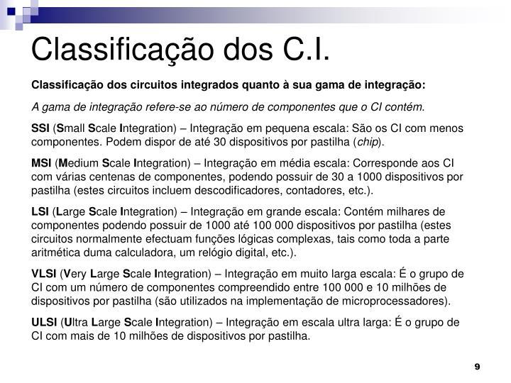 Classificação dos C.I.