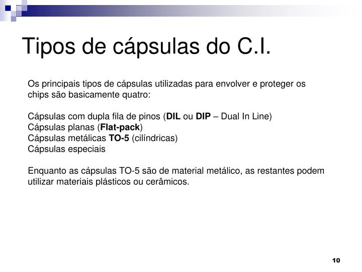 Tipos de cápsulas do C.I.