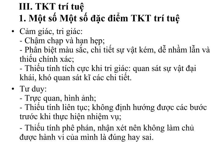 III. TKT trí tuệ