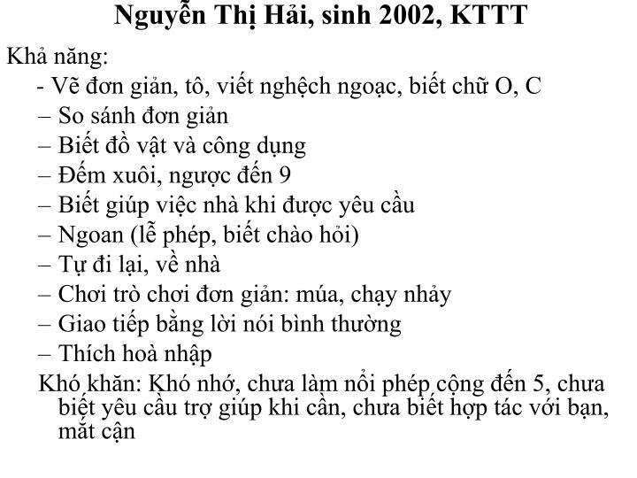 Nguyễn Thị Hải, sinh 2002, KTTT