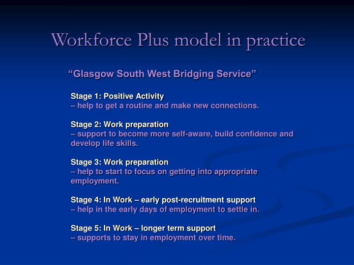 Workforce Plus model in practice