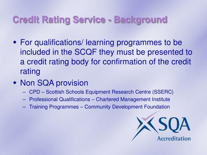 Credit Rating Service - Background