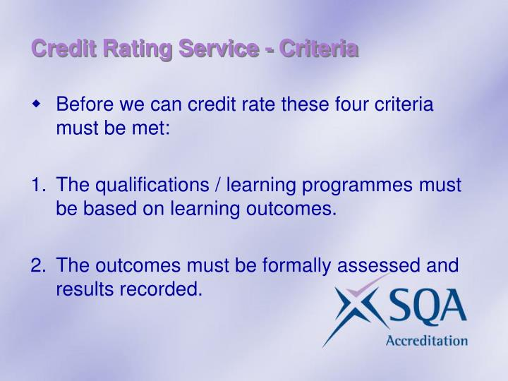 Credit Rating Service - Criteria