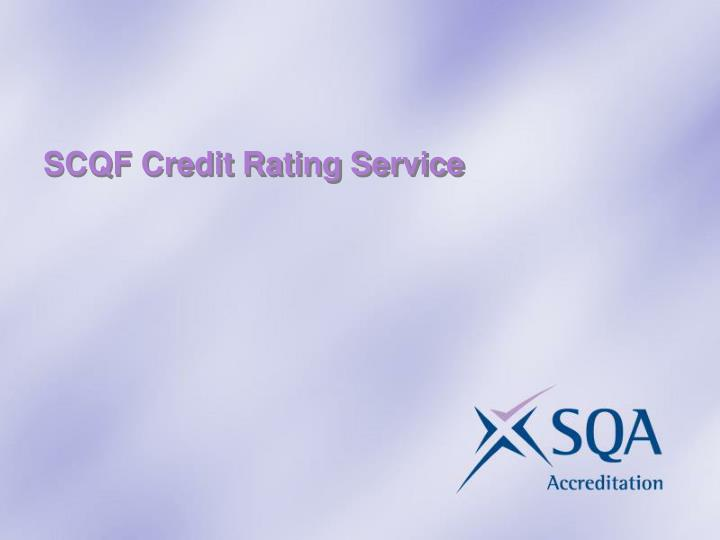 SCQF Credit Rating Service