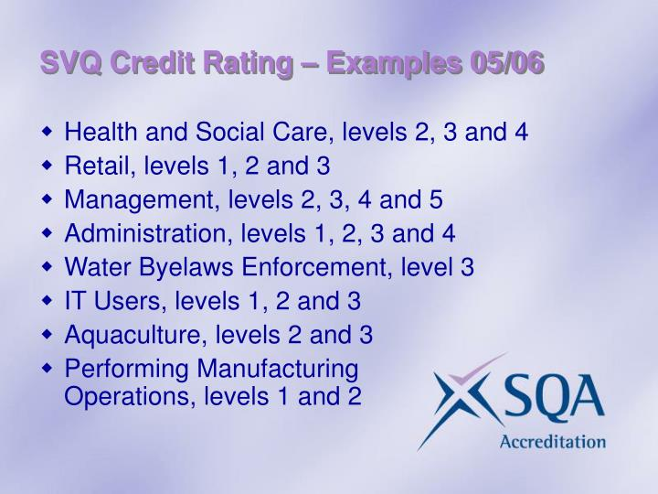 SVQ Credit Rating – Examples 05/06