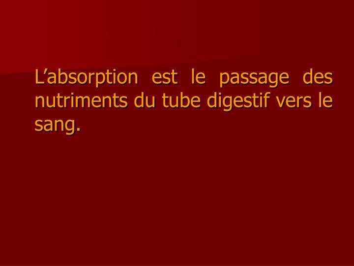 L'absorption est le passage des nutriments du tube digestif vers le sang.