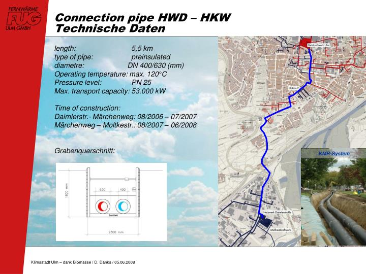 Connection pipe HWD – HKW