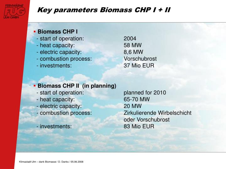 Key parameters Biomass CHP I + II