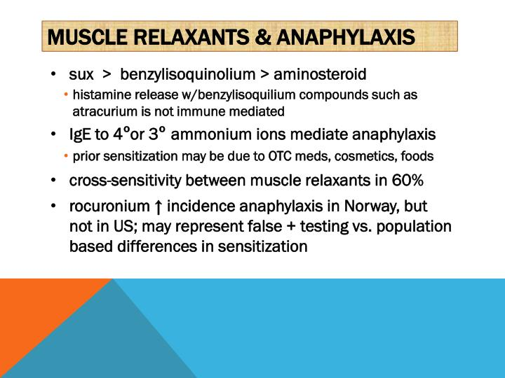 Muscle relaxants & ANAPHYLAXIS