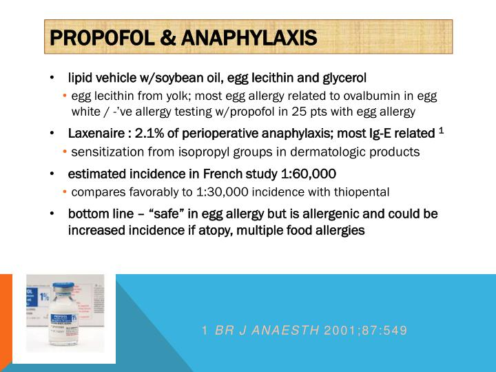 PROPOFOL & ANAPHYLAXIS