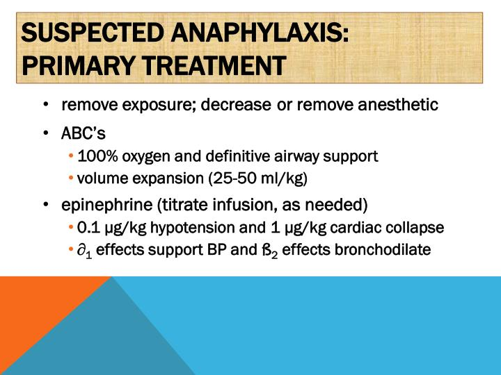 Suspected anaphylaxis: