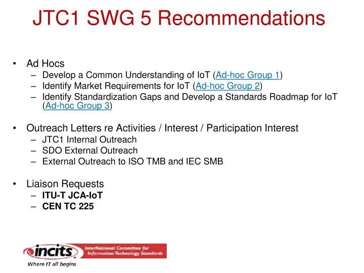 JTC1 SWG 5 Recommendations