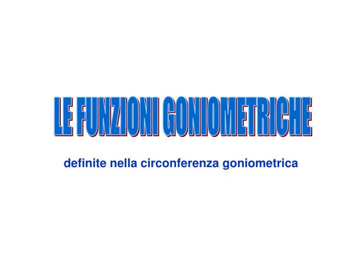 definite nella circonferenza goniometrica
