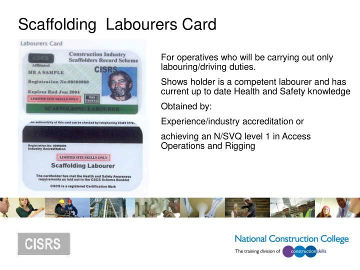 Scaffolding  Labourers Card
