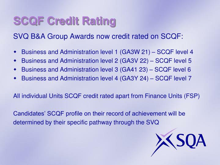 SCQF Credit Rating