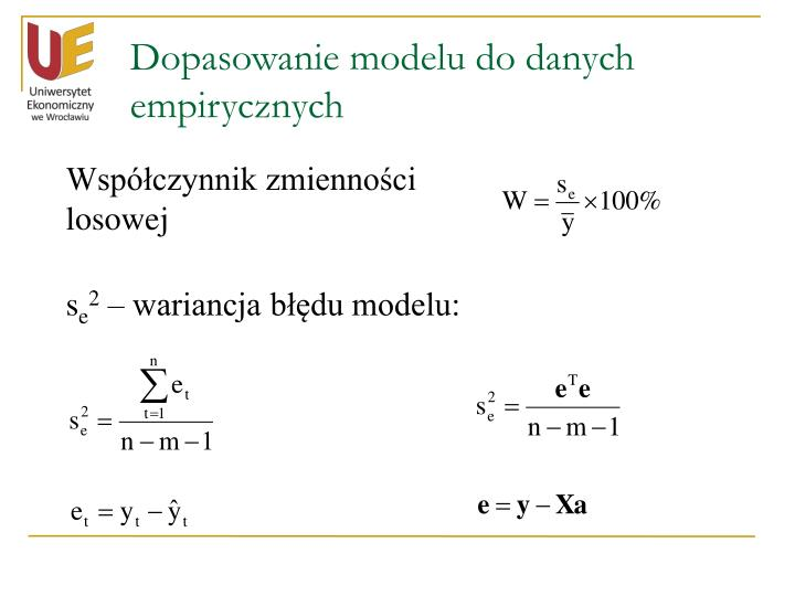 Dopasowanie modelu do danych empirycznych