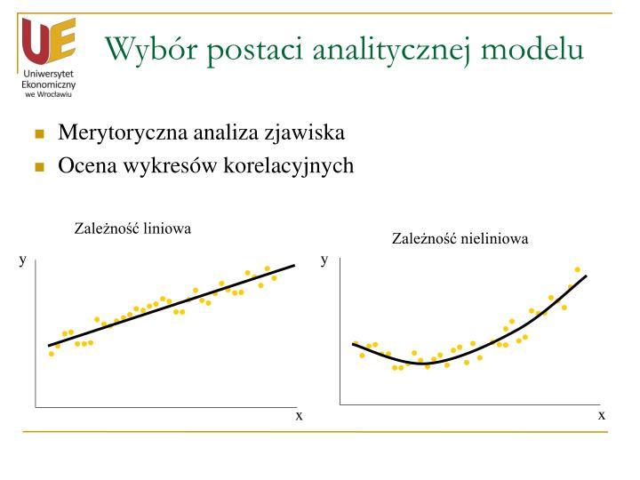 Wybór postaci analitycznej modelu