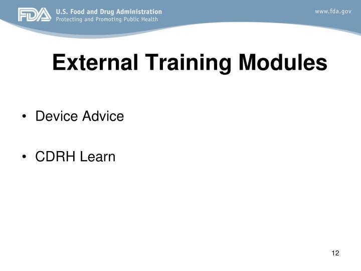 External Training Modules