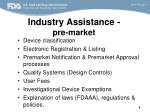 industry assistance pre market