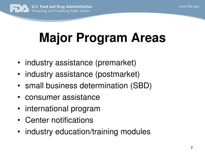 Major Program Areas