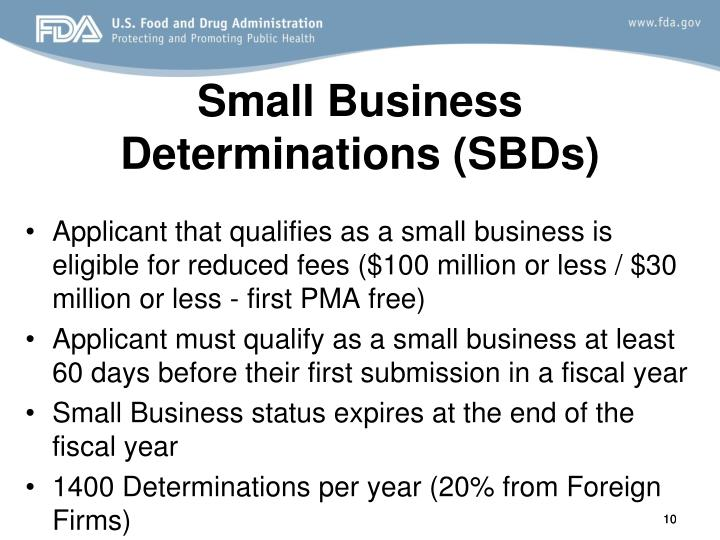 Small Business Determinations (SBDs)