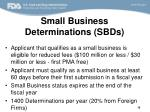 small business determinations sbds