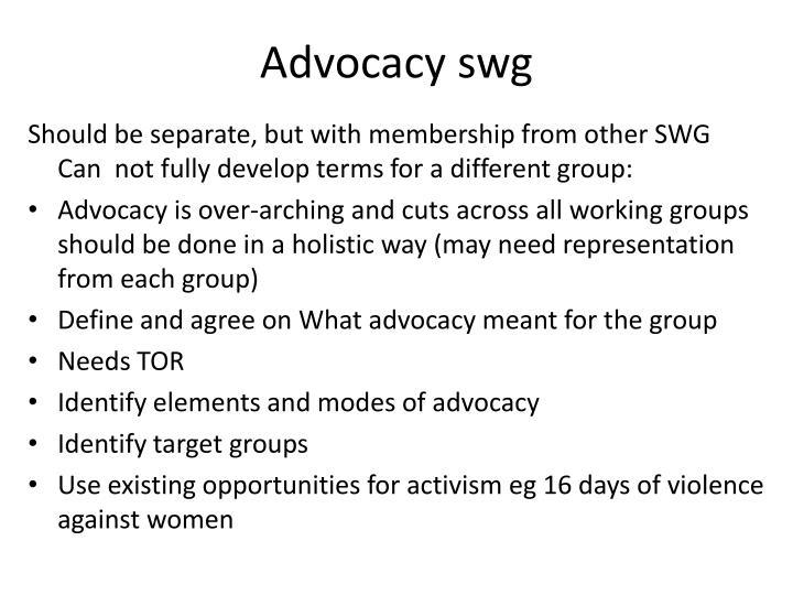 Advocacy swg