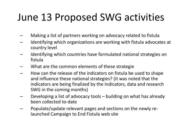 June 13 Proposed SWG activities
