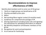 recommendations to improve effectiveness of swg