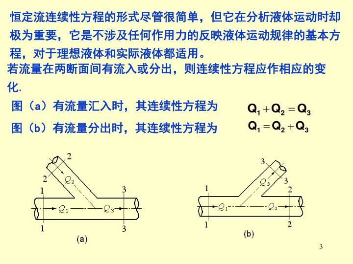 恒定流连续性方程的形式尽管很简单,但它在分析液体运动时却极为重要,它是不涉及任何作用力的反映液体运动规律的基本方程,对于理想液体和实际液体都适用。