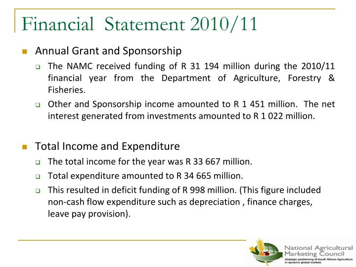 Financial statement 2010 11