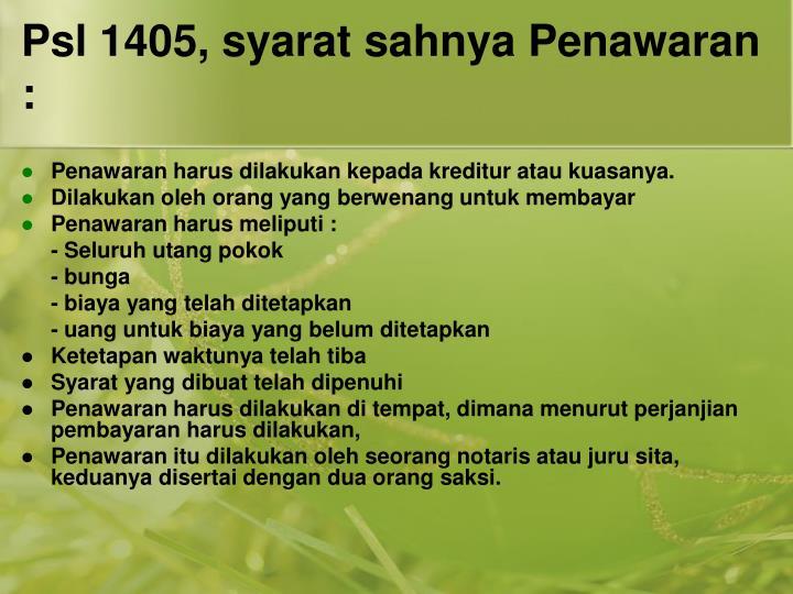 Psl 1405, syarat sahnya Penawaran :