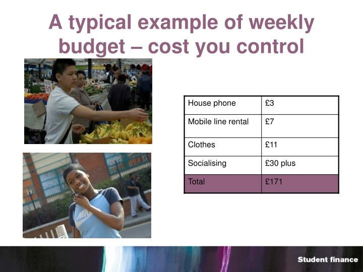 A typical example of weekly budget – cost you control